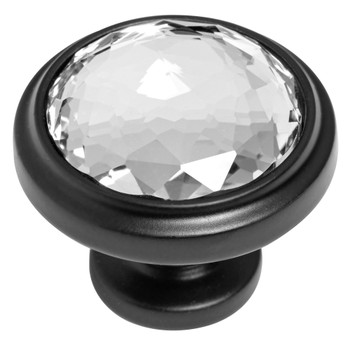 Cosmas 5317FB-C Flat Black & Clear Glass Round Cabinet Knob