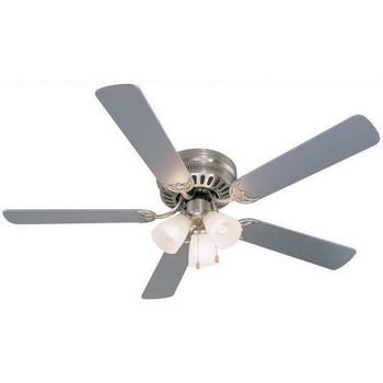 "Satin Nickel 52"" Hugger Ceiling Fan w/ Light Kit : 8687"