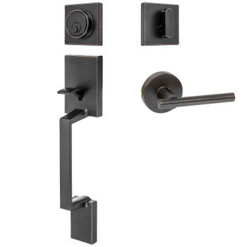 Designers Impressions Keeneland Design Oil Rubbed Bronze Contemporary Handleset with Kain Interior