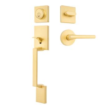 Designers Impressions Keeneland Design Satin Brass Contemporary Handleset with Kain Interior