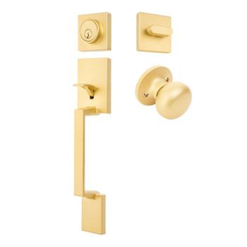 Designers Impressions Keeneland Design Satin Brass Contemporary Handleset with Bedford Interior