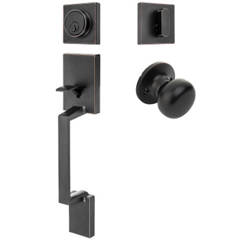 Designers Impressions Keeneland Design Oil Rubbed Bronze Contemporary Handleset with Bedford Interior