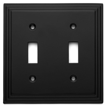 Cosmas 25033-FB Flat Black Double Toggle Switchplate Cover
