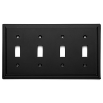 Copy of Cosmas 25045-FB Flat Black Quad Toggle Switchplate Cover