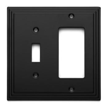 Cosmas 25077-FB Flat Black Single Toggle / GFCI Decora Combo