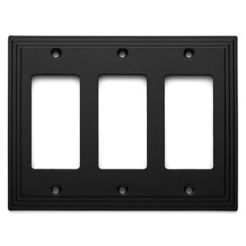 Cosmas 25084-FB Flat Black Triple GFCI / Decora Wall Plate