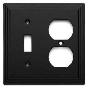 Cosmas 25068-FB Flat Black Single Toggle / Duplex Combo
