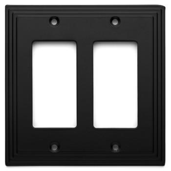 Cosmas 25090-FB Flat Black Double GFCI / Decora Wall Plate