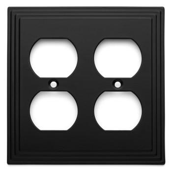 Cosmas 25012-FB Flat Black Double Duplex Outlet Wall Plate