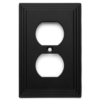 Cosmas 25026-FB Flat Black Single Duplex Outlet Wall Plate