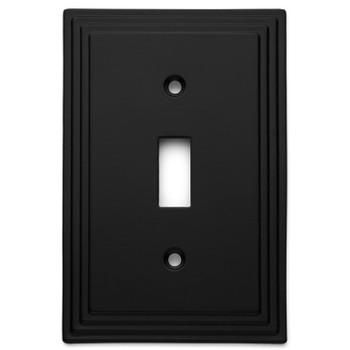 Cosmas 25053-FB Flat Black Single Toggle Switchplate Cover