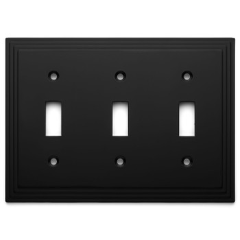 Cosmas 25037-FB Flat Black Triple Toggle Switchplate Cover