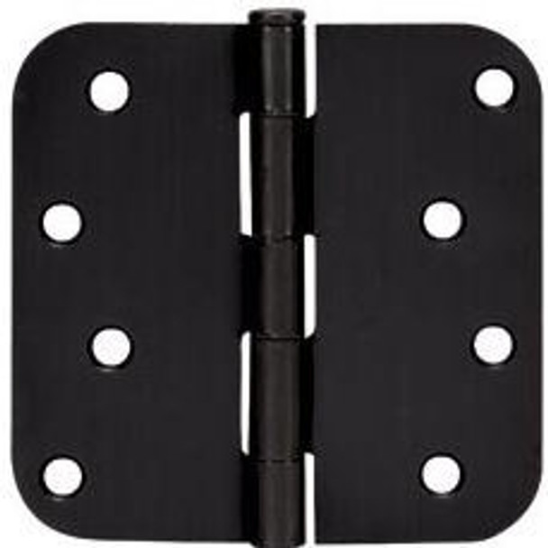 "Cosmas Matte Black Door Hinge 4"" with 5/8"" Radius Corners: 44074"