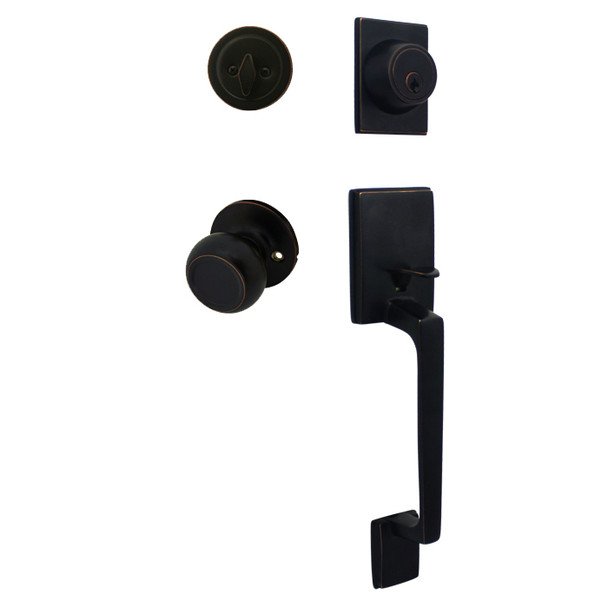 Cosmas 600 Series Oil Rubbed Bronze Handleset with 20 Series Interior: HS600/20-ORB