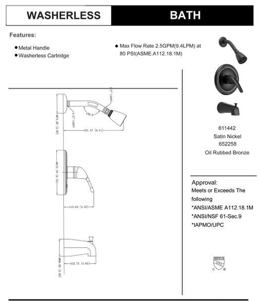 Designers Impressions 652258 Oil Rubbed Bronze Tub / Shower Combo Faucet