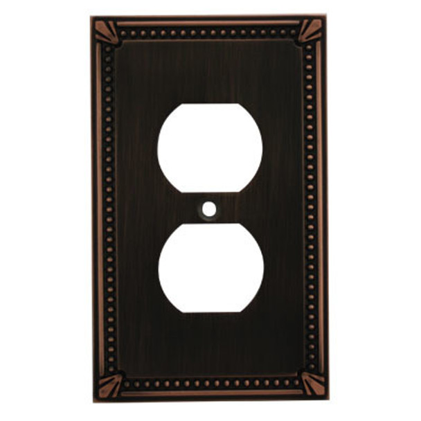 Cosmas 44018-ORB Oil Rubbed Bronze Single Duplex Outlet Wall Plate