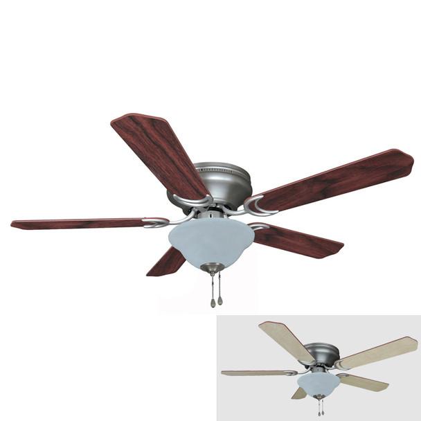 "Satin Nickel 52"" Hugger Ceiling Fan w/ Light Kit : 1142"