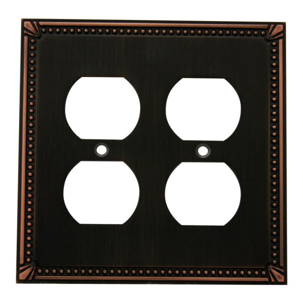 Cosmas 44013-ORB Oil Rubbed Bronze Double Duplex Outlet Wall Plate