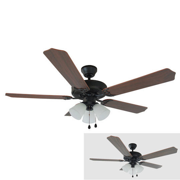 "Oil Rubbed Bronze 52"" Ceiling Fan w/ Light Kit : 5715"