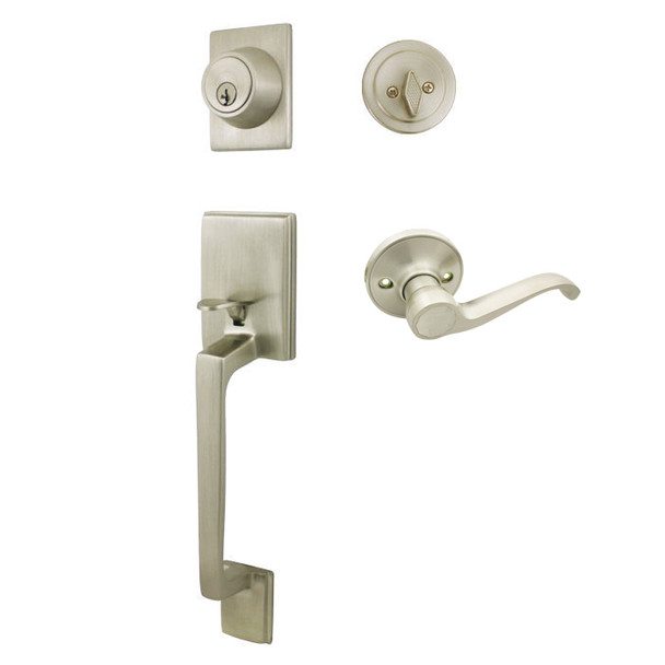 Cosmas 600 Series Satin Nickel Handleset with 50 Series Interior: HS600/59-SN