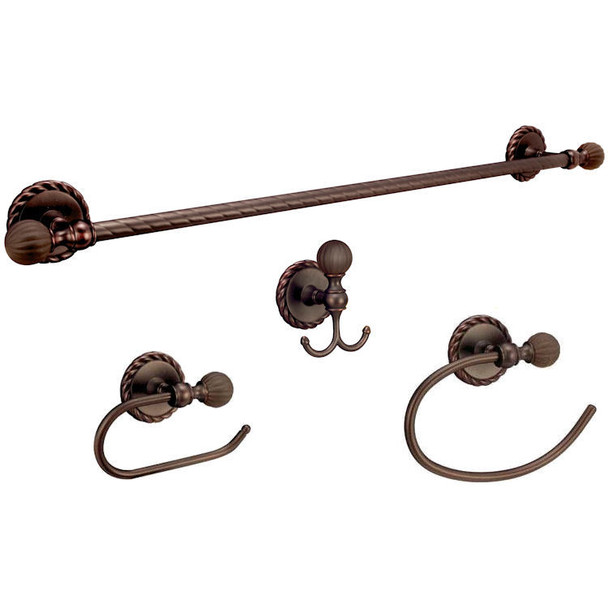 Designers Impressions Andora Series 4 Piece Oil Rubbed Bronze Bathroom Hardware Set