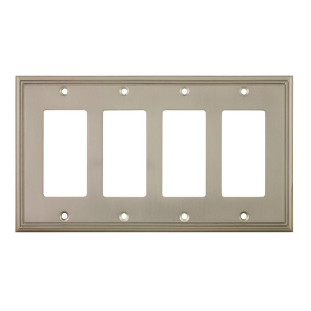 Cosmas 65075-SN Satin Nickel Quad GFCI / Decora Wall Plate