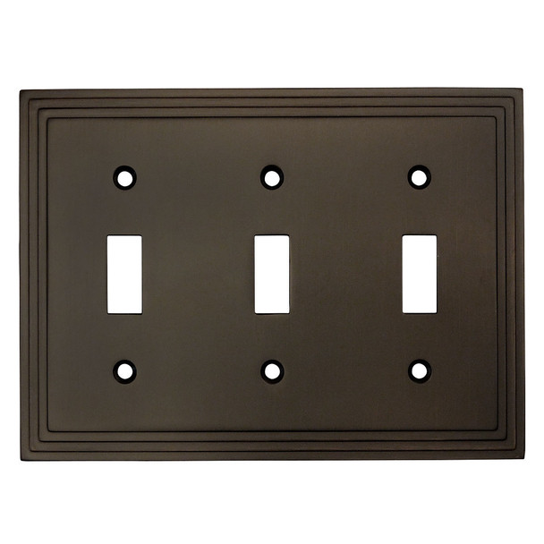 Cosmas 25037-ORB Oil Rubbed Bronze Triple Toggle Switchplate Cover