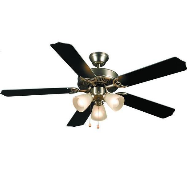"""Satin Nickel 52"""" Ceiling Fan w/ Light Kit : 5935"""