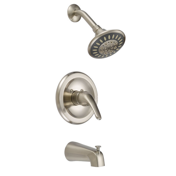 Designers Impressions 615625 Satin Nickel Tub / Shower Combo Faucet with Multi-Setting Shower Head