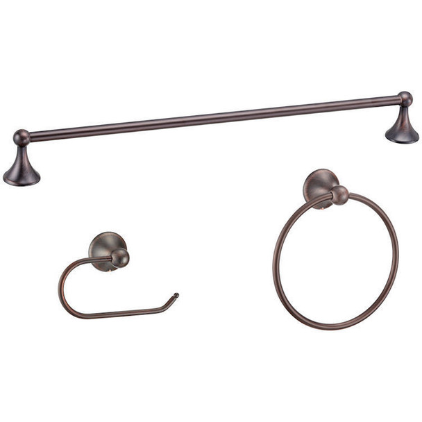 Designers Impressions Newport Series 3 Piece Oil Rubbed Bronze Bathroom Hardware Set: 19762