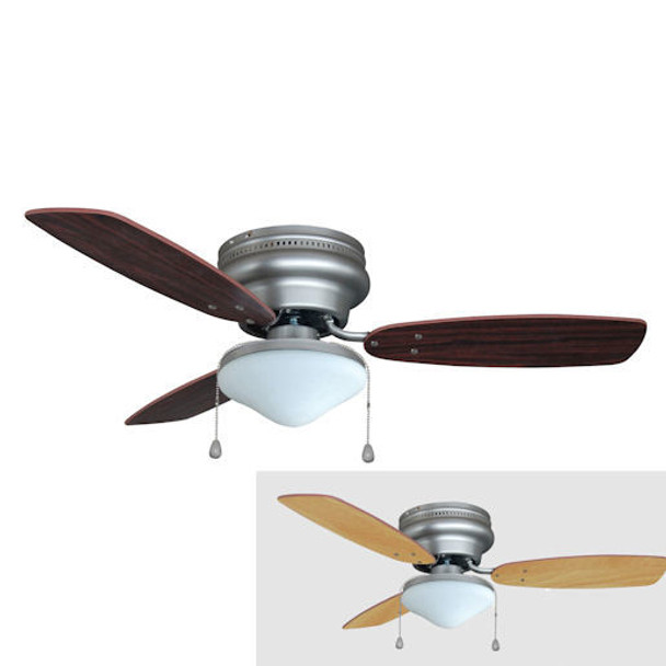 "Satin Nickel 42"" Hugger Ceiling Fan w/ Light Kit : 5975"