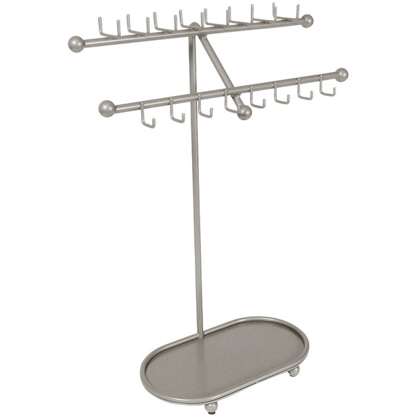 Designers Impressions JR21-SN Silver Satin Nickel Free Standing Tree Jewelry Organizer and Display Rack