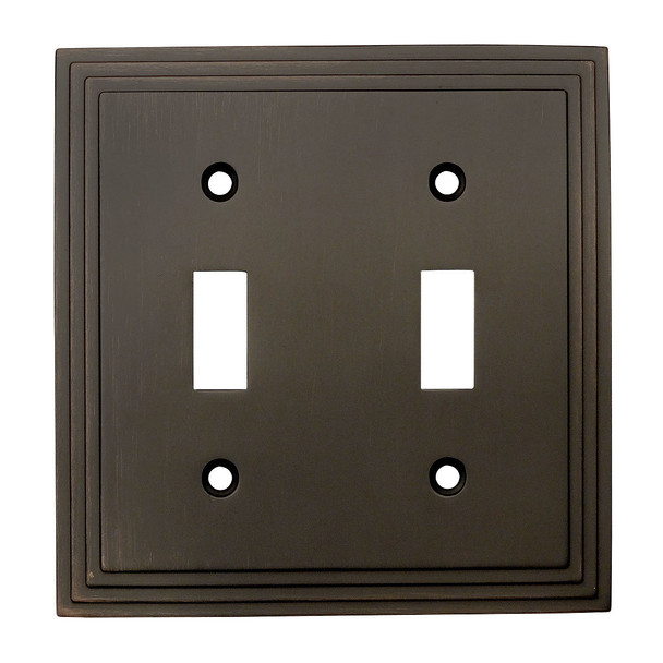 Cosmas 25033-ORB Oil Rubbed Bronze Double Toggle Switchplate Cover