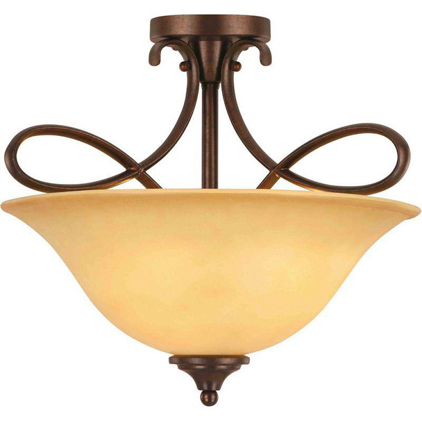 Bennington Antique Bronze 3 Light Semi-Flush Fixture: 10-0892