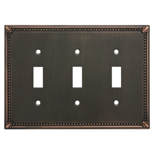 Cosmas 44032-ORB Oil Rubbed Bronze Triple Toggle Switchplate Cover