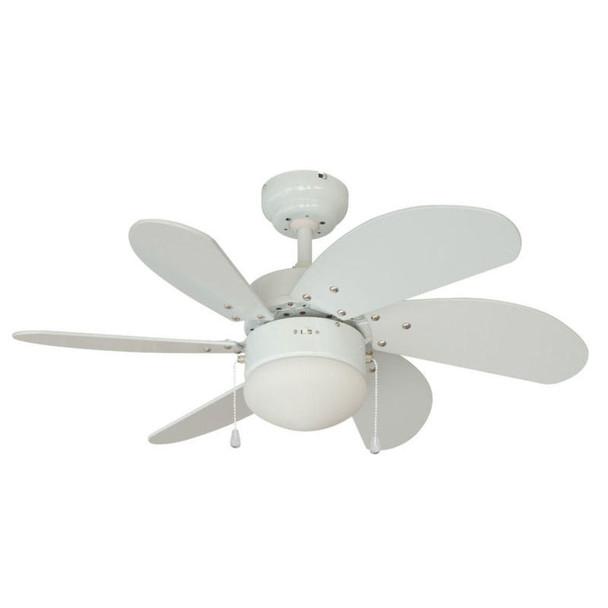 """White 30"""" Ceiling Fan w/ Light Kit : 4937"""