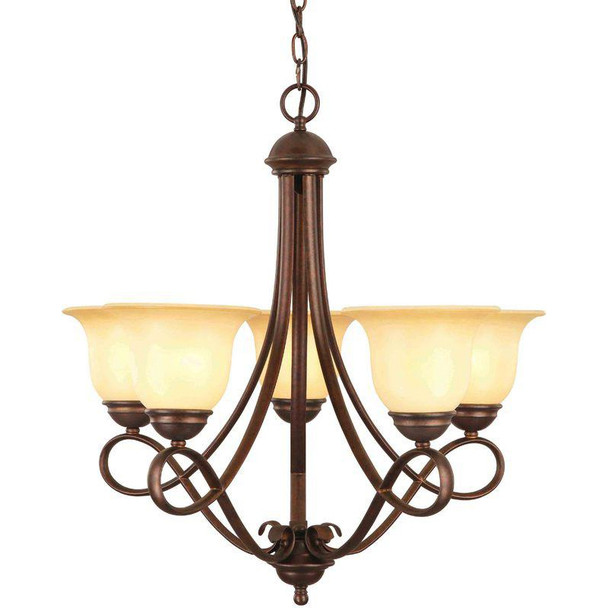 Bennington Antique Bronze 5 Light Chandelier: 10-0717