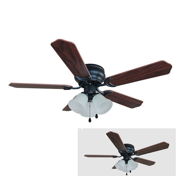 "Oil Rubbed Bronze 42"" Hugger Ceiling Fan w/ Light Kit : 5067"