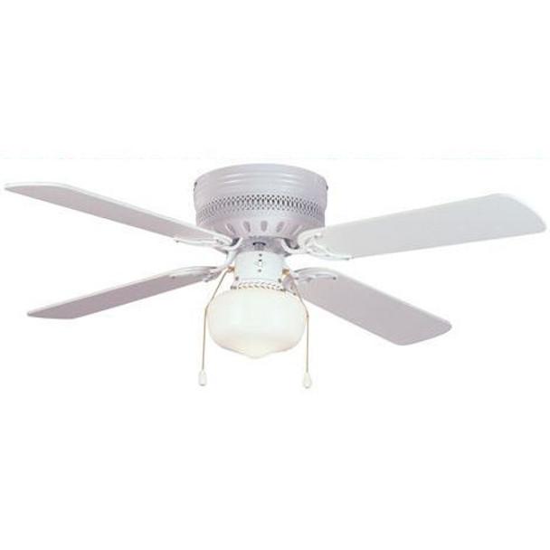 """White 42"""" Hugger Ceiling Fan w/ Light Kit : 5745"""
