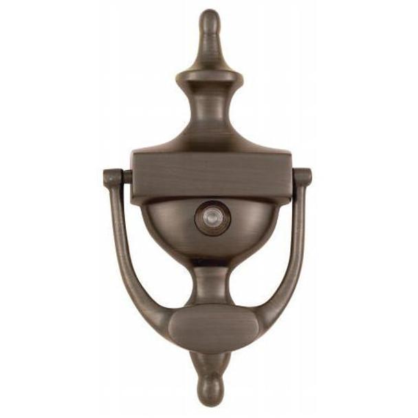 """Oil Rubbed Bronze 7"""" Door Knocker with Viewer: 55-2158"""