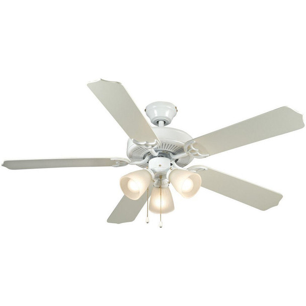 "White 52"" Ceiling Fan w/ Light Kit : 5919"