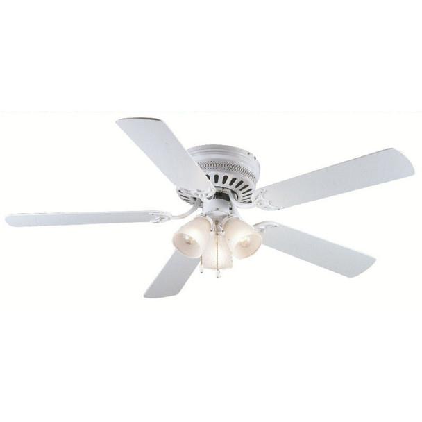 """White 52"""" Hugger Ceiling Fan w/ Light Kit : 5877"""