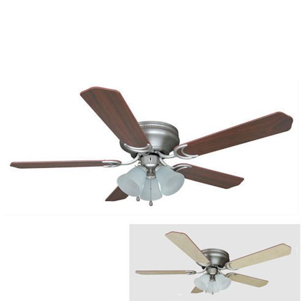 "Satin Nickel 52"" Hugger Ceiling Fan w/ Light Kit : 4985"
