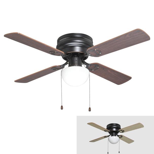 "Oil Rubbed Bronze 42"" Hugger Ceiling Fan w/ Light Kit & Reversible Blades : 2272"