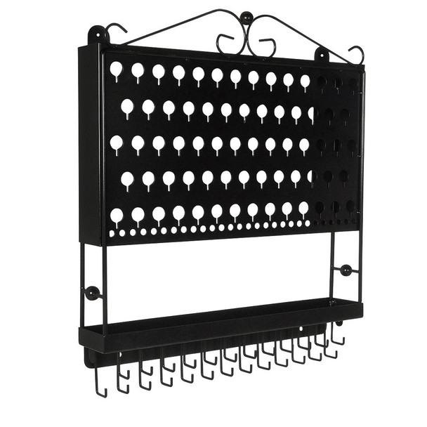 Designers Impressions JR20-FB Flat Black Large Wall Mounted Jewelry Organizer and Display Rack