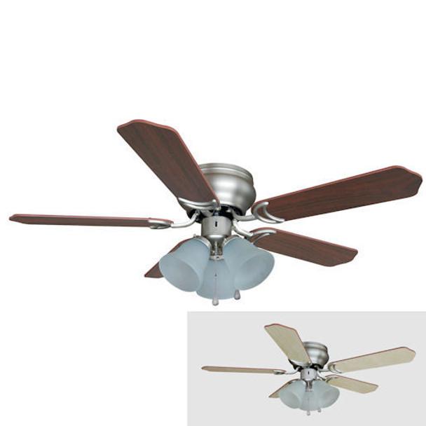 "Satin Nickel 42"" Hugger Ceiling Fan w/ Light Kit : 5142"