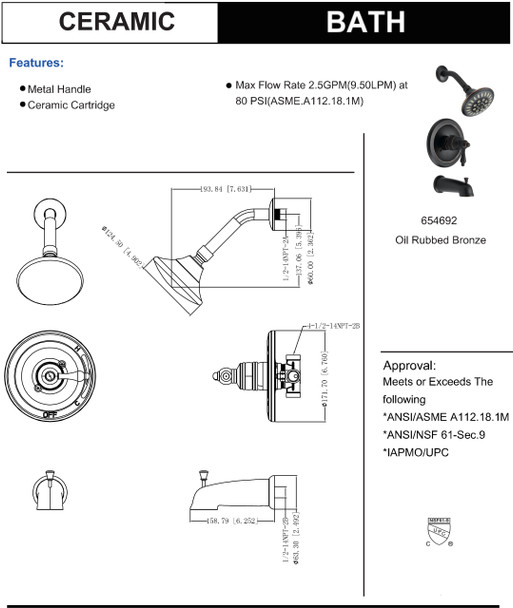 Designers Impressions 654692 Oil Rubbed Bronze Tub / Shower Combo Faucet with Multi-Setting Shower Head