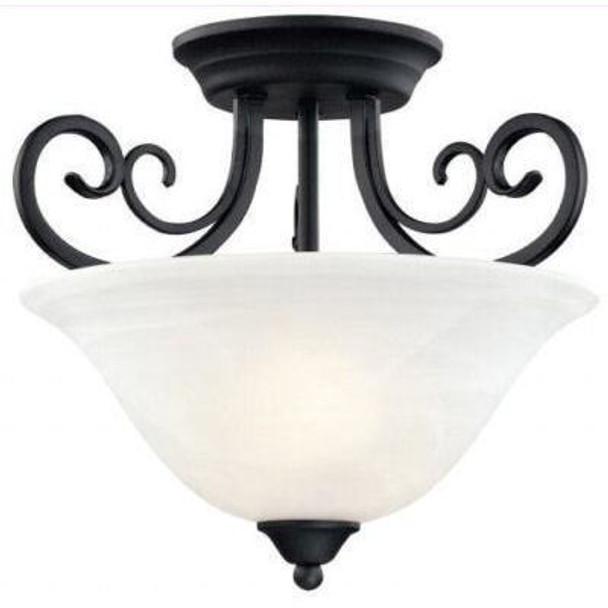 Matte Black Semi-Flush Mount Ceiling Light Fixture : 54-4874
