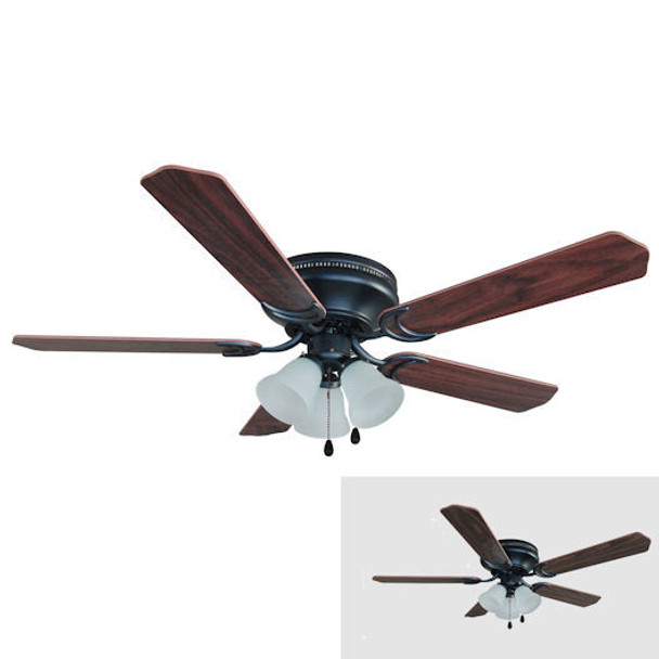"Oil Rubbed Bronze 52"" Hugger Ceiling Fan w/ Light Kit : 4800"
