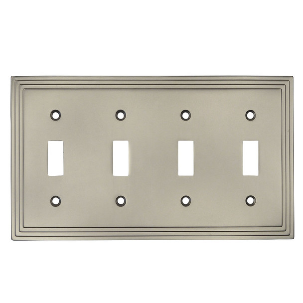 Cosmas 25045-SN Satin Nickel Quad Toggle Switchplate Cover